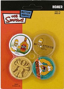 Simpsons Homer 4 Pin Badges in Pack (mm)